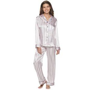 Apt. 9 Pink Stripe Satin Notch Pajama Set
